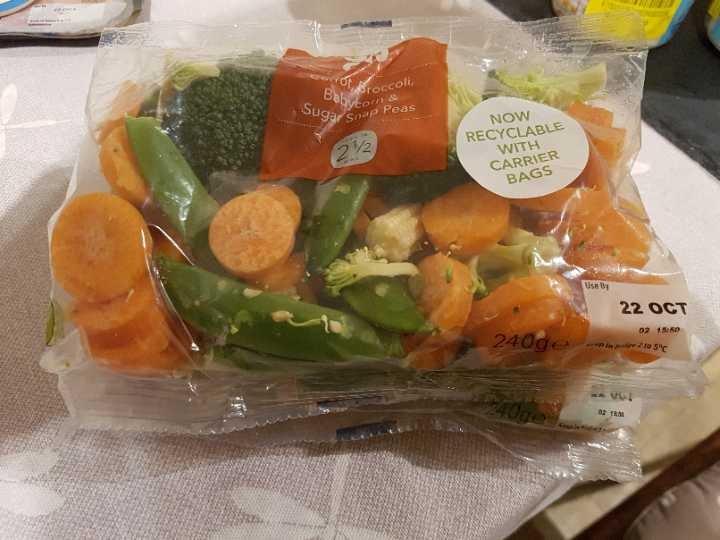 Carrot broccoli babycorn and sugasnap