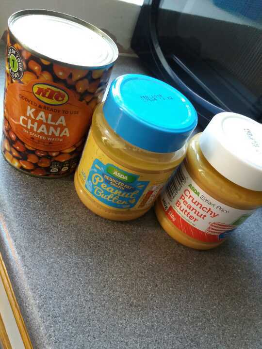 Chickpeas can, reduced fat smooth peanut butter and crunchy peanut butter