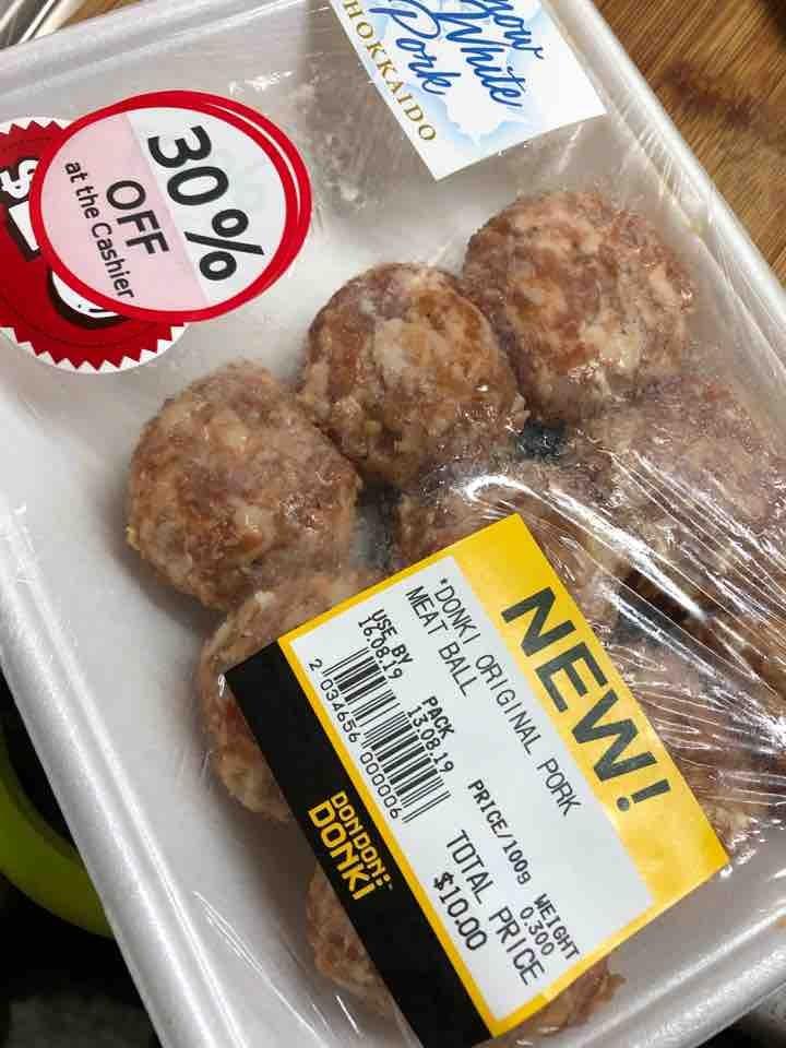 Pork meat balls bought at Donki