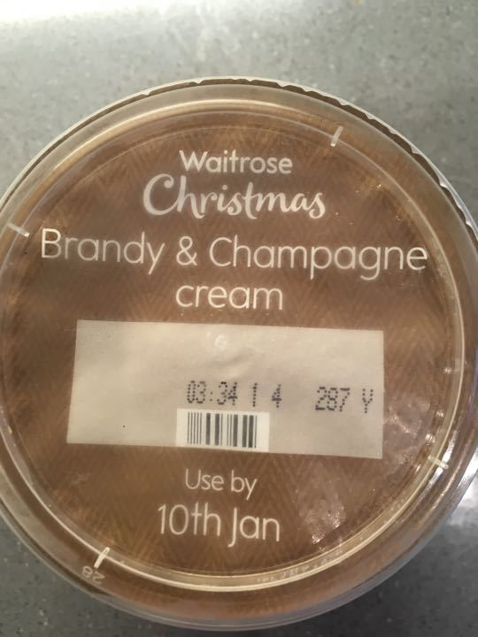 Champagne and brandy extra thick cream 250ml.