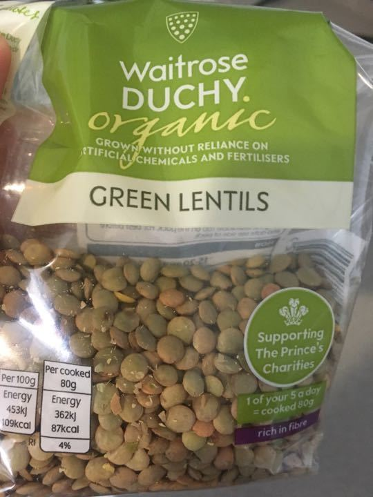 organic green lentils from waitrose - open pack only a bit left