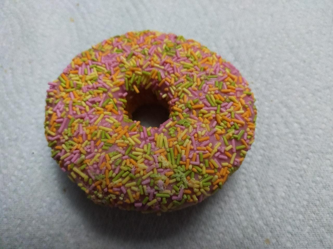 Tesco pink iced doughnut