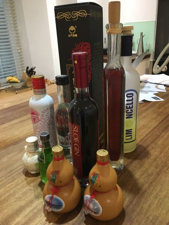 Selection of bottles of alcoholic drinks