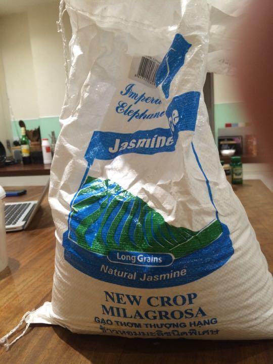 Sack of jasmine rice