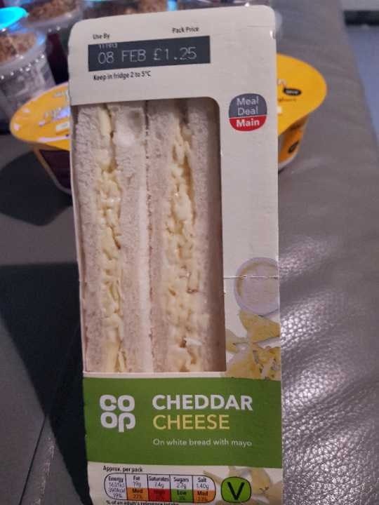 Cheddar cheese sandwich - must be collected before 11pm tonight