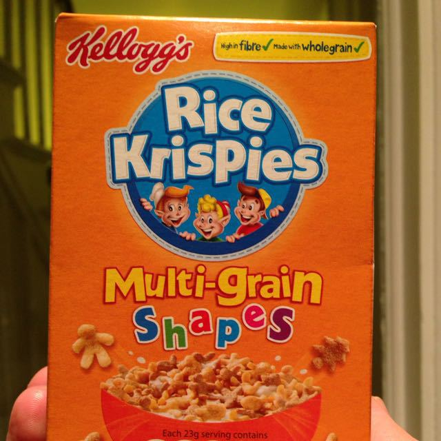 Small size Rice krispies multi grain shapes cereal box