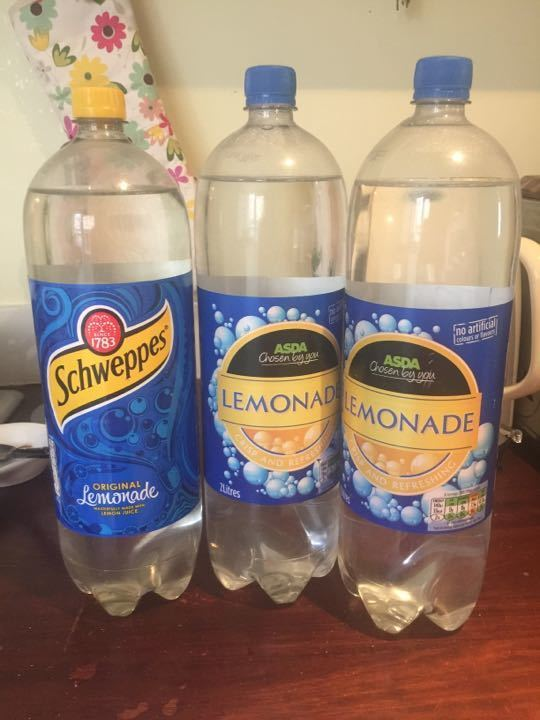 3 bottles lemonade