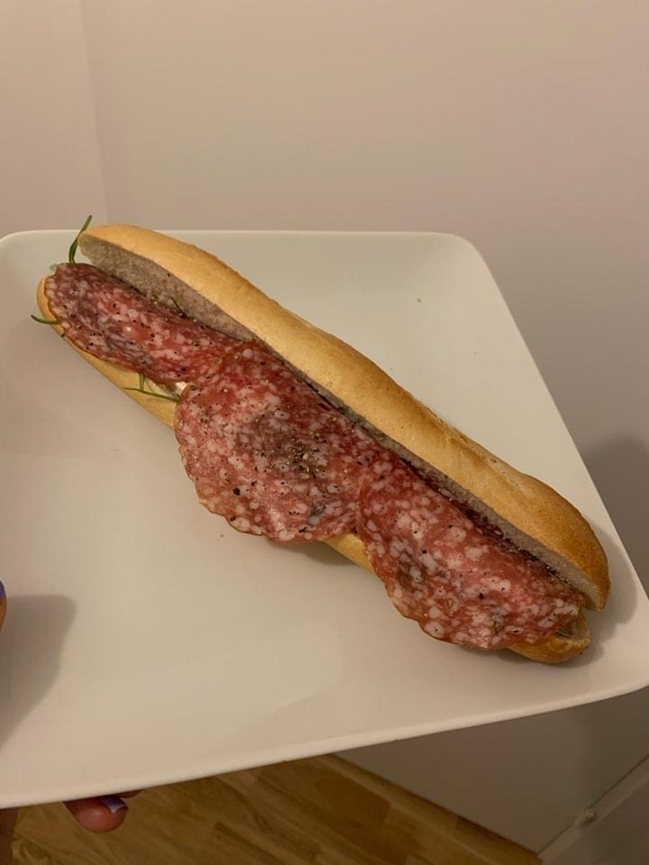Salami and brie sandwich