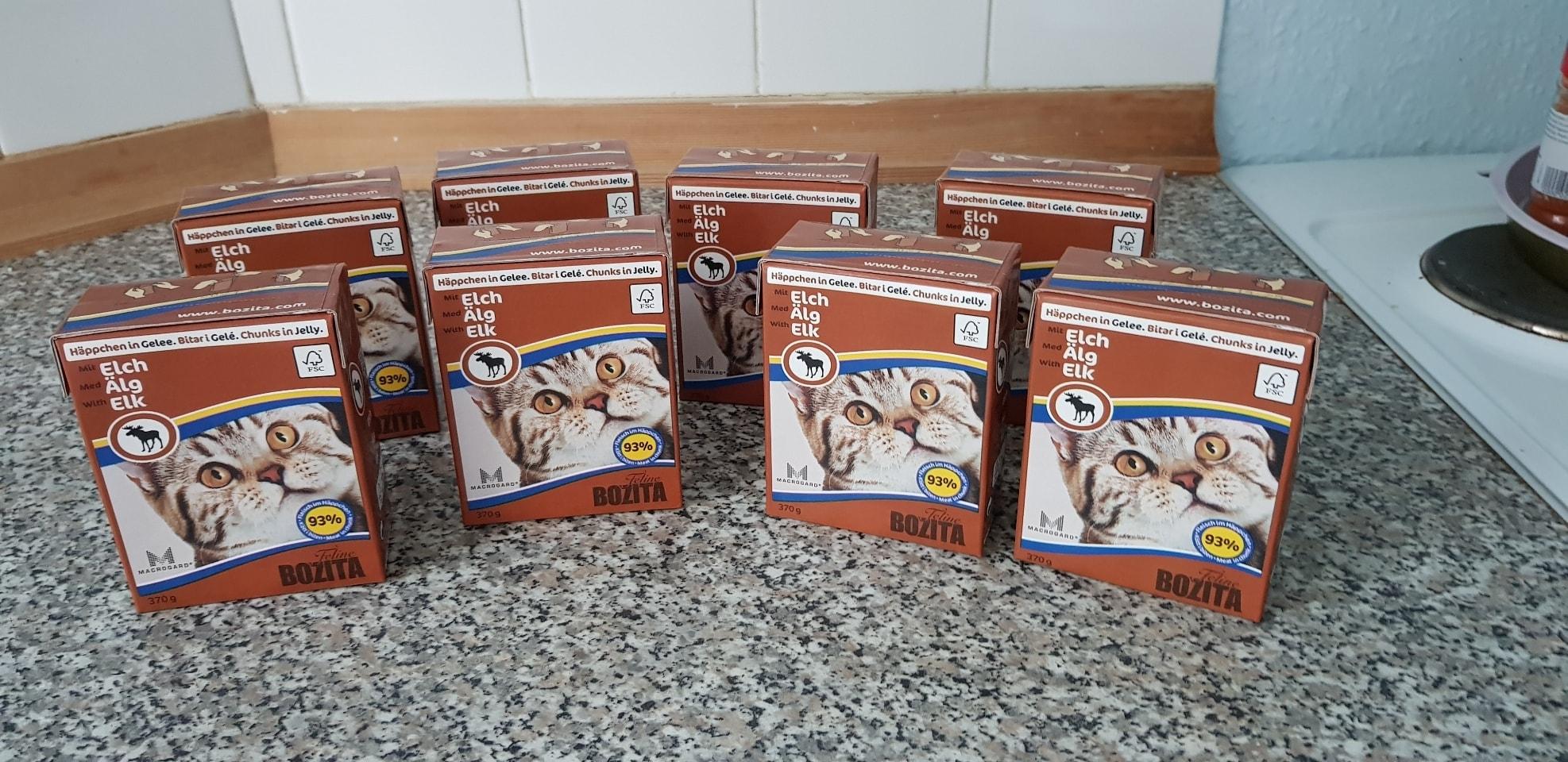 8 packs of Bozita cat food - elk chunks in jelly