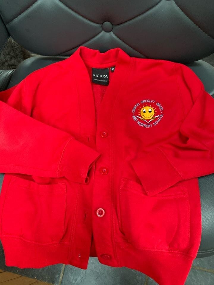 Red school cardigan 26 chest