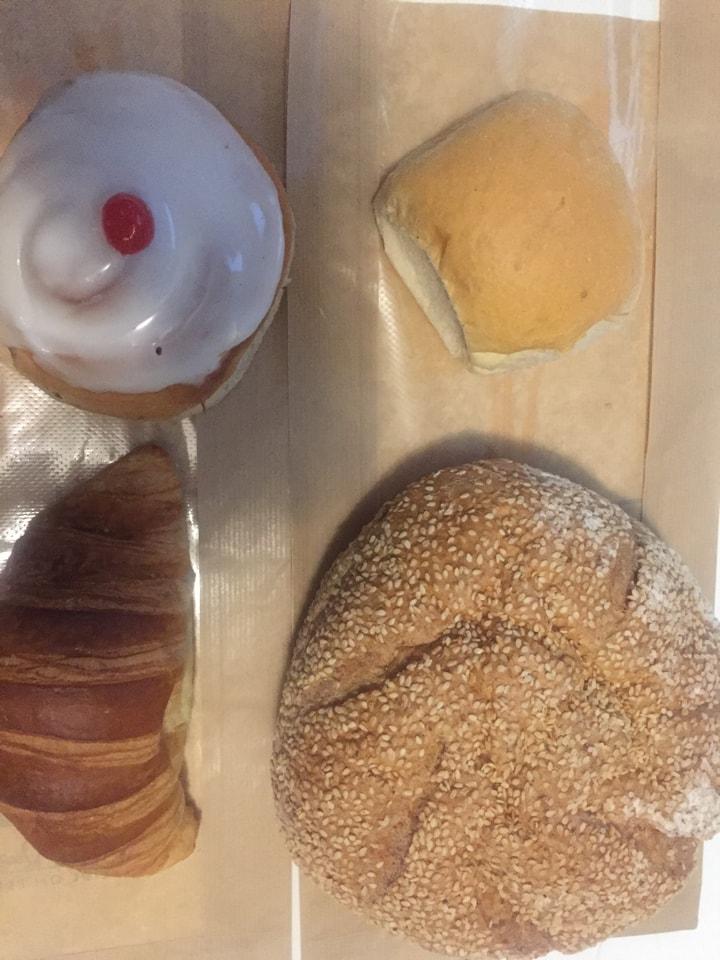 (2) CAVAN BAKERY joblot - 1 spelt loaf, 1 belgian bun, 1 hard roll and 1 croissants