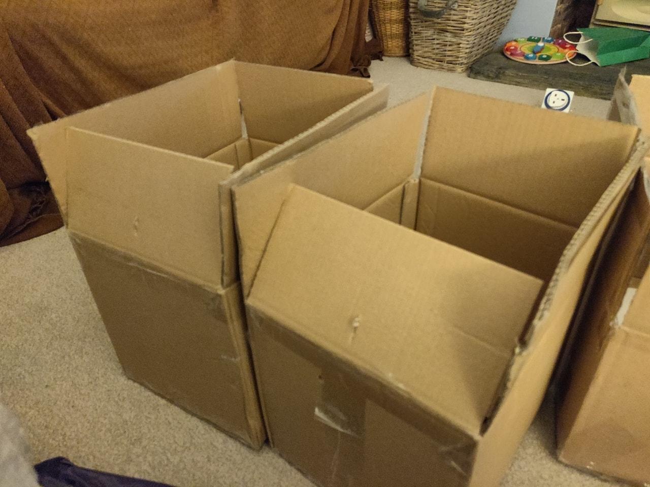 Boxes plus large bubble wrap
