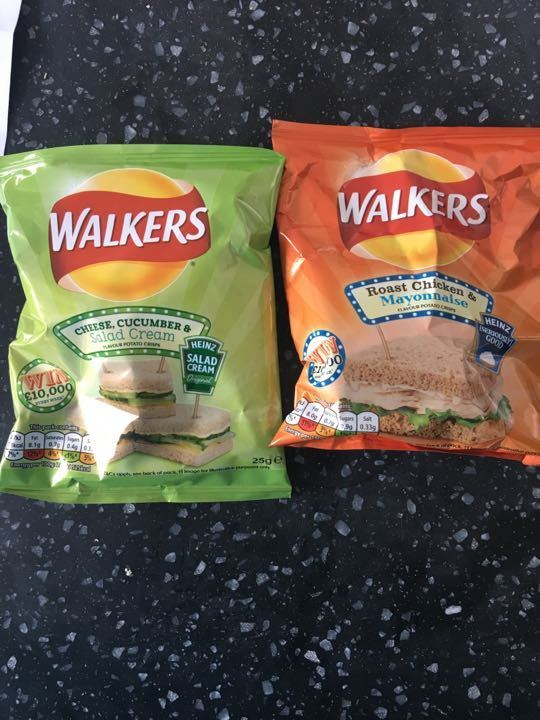 Walkers Crisps: roast chicken and mayo/ cheese and salad cream flavours