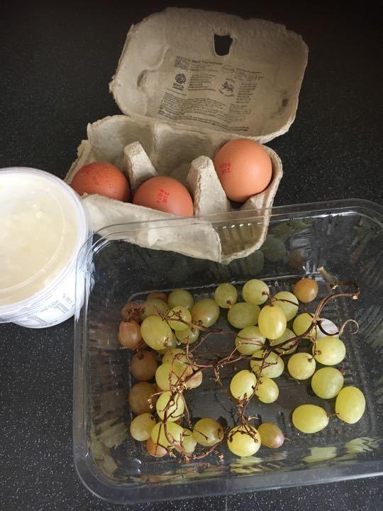 Eggs, sour cream, grapes