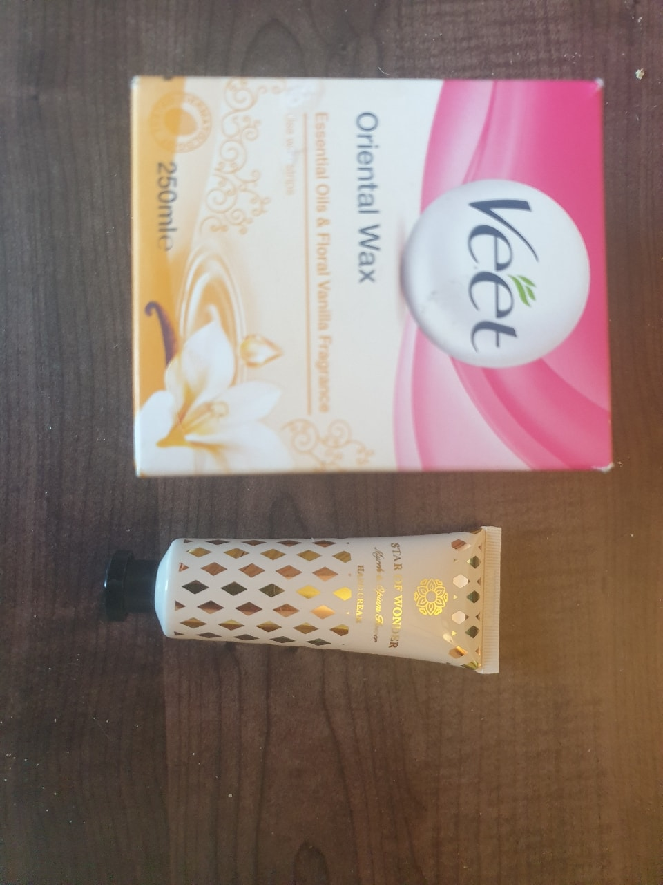 Veet wax, tube of hand cream