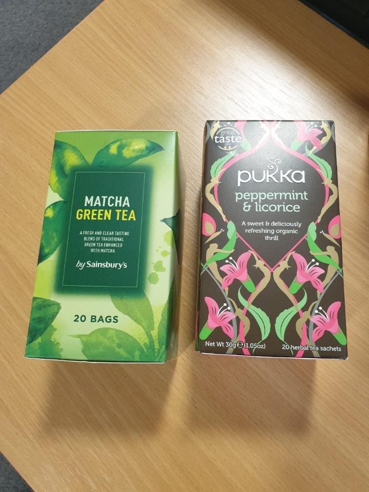 Matcha green tea (pukka tea gone)