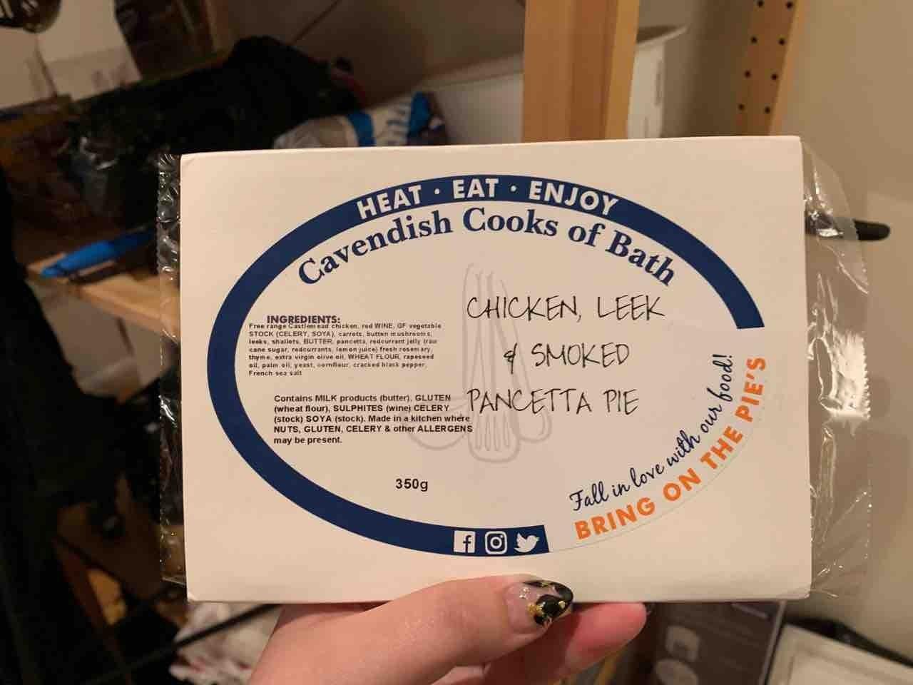 Cavendish Cooks chicken leek and pancetta pie