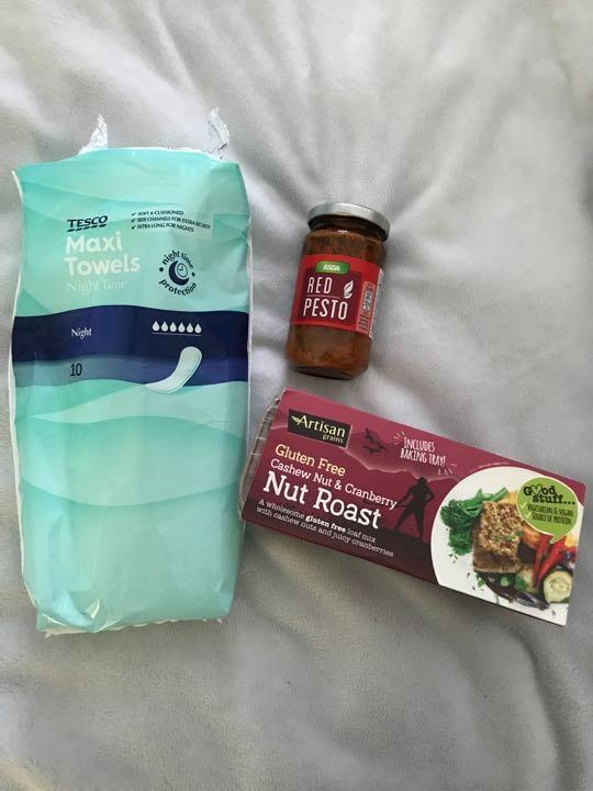 Pesto, nut roast and maxi pads