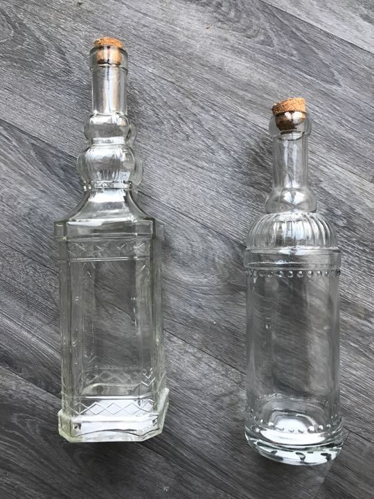 Glass bottles with cork stoppers