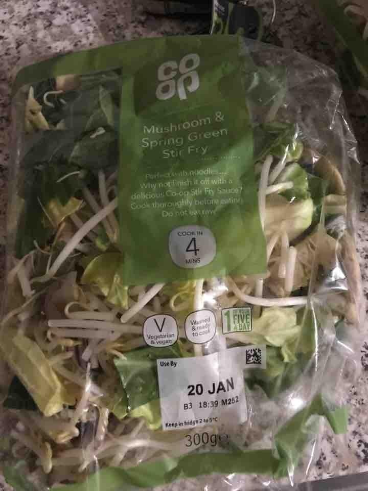 Mushroom spring green stir fry