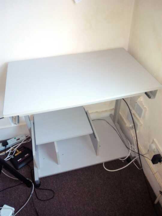 Light grey computer desk