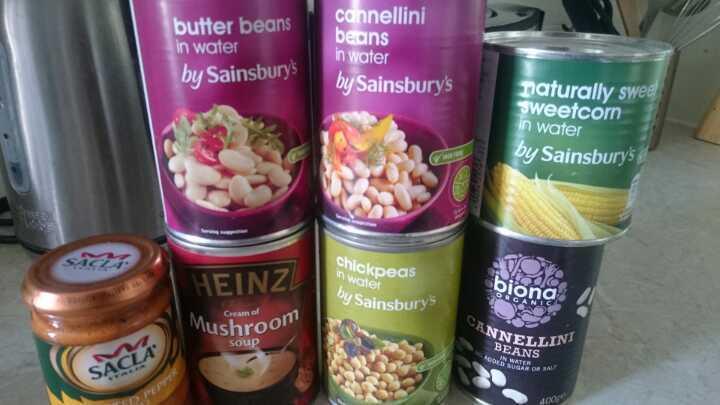 Tinned food - beans, soup, pesto