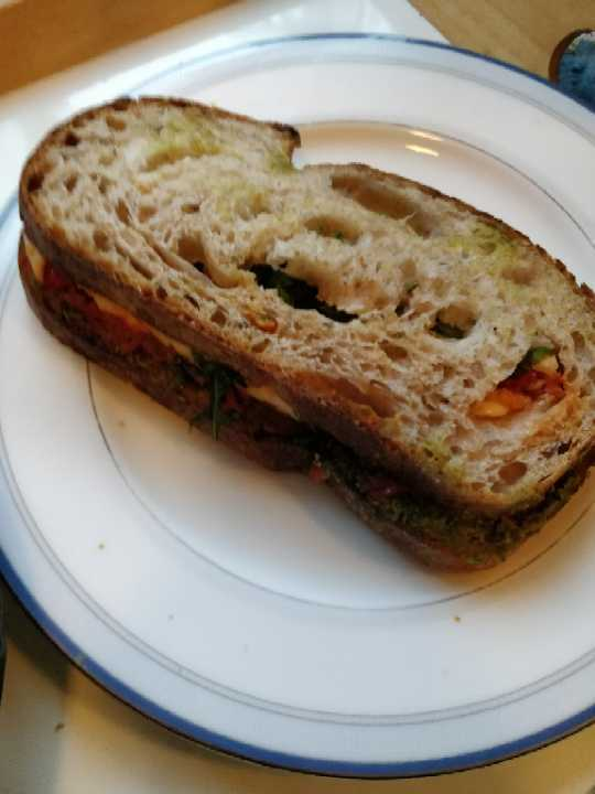 Cheese sun-dried tomatoes pesto sandwich