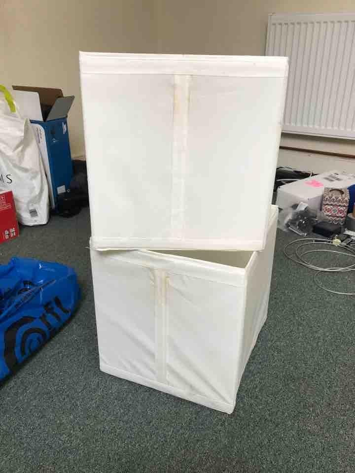 2 x white fabric storage boxes