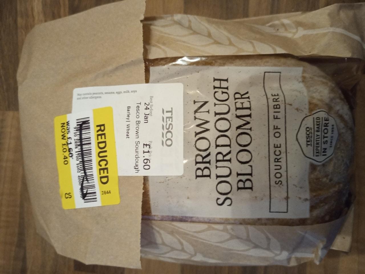 Unsliced brown sourdough bloomer