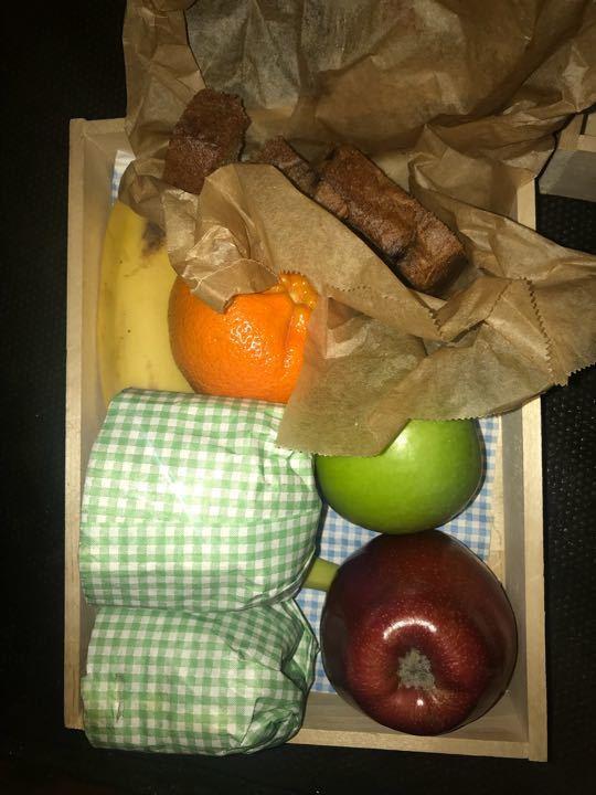 Fruit, sandwiches , cake