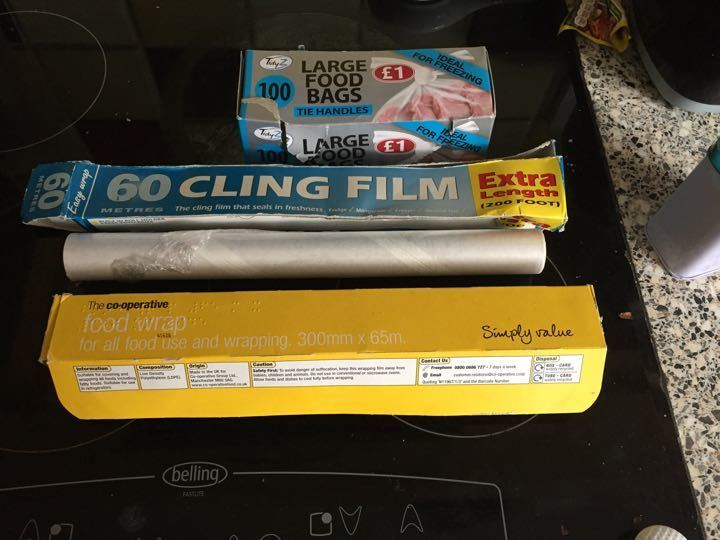3x half used cling film and almost full food bags