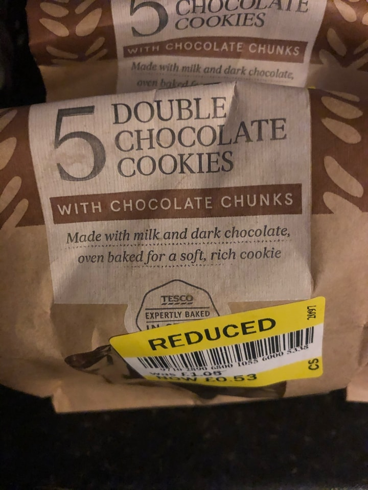Double chocolate cookies donated by Tesco