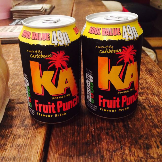 Ka fruit punch cans for that teopical feeling
