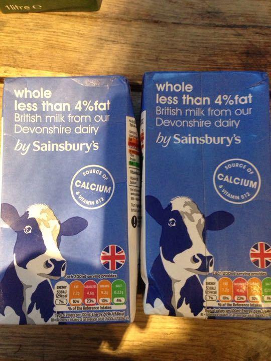 Whole less than 4% fat British milk