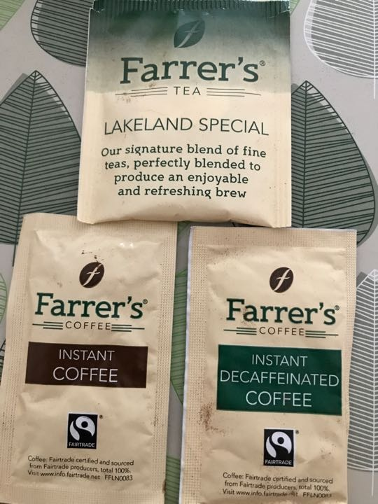 tea, coffee, decafinated coffee - Farrers Lakeland special (1 sachet of each)
