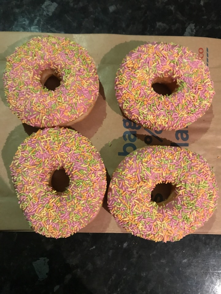 Tesco Freshly Baked Rainbow Doughnuts