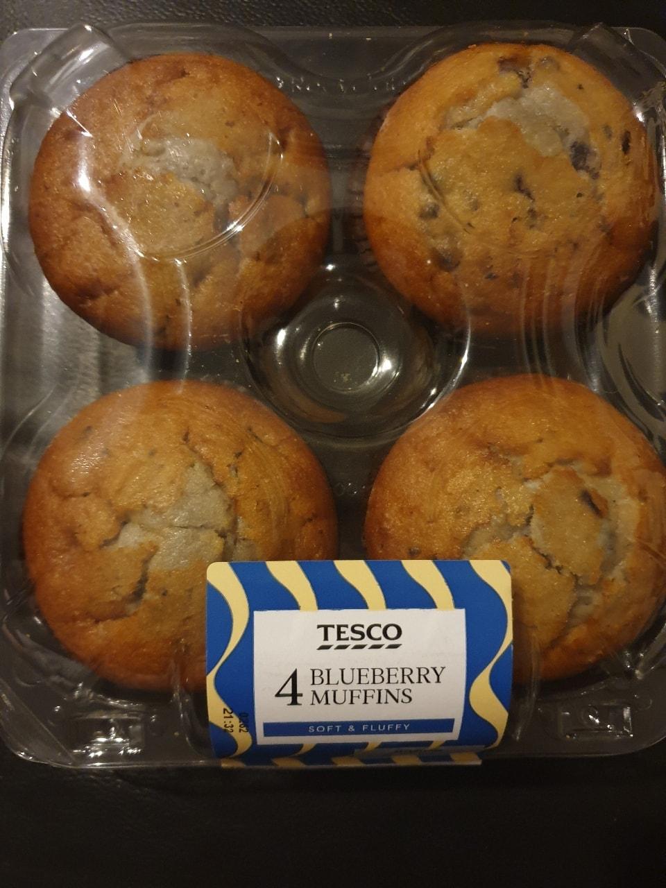 4 blueberry muffins