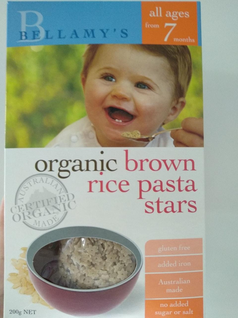 Bellamy's organic brown rice pasta stars