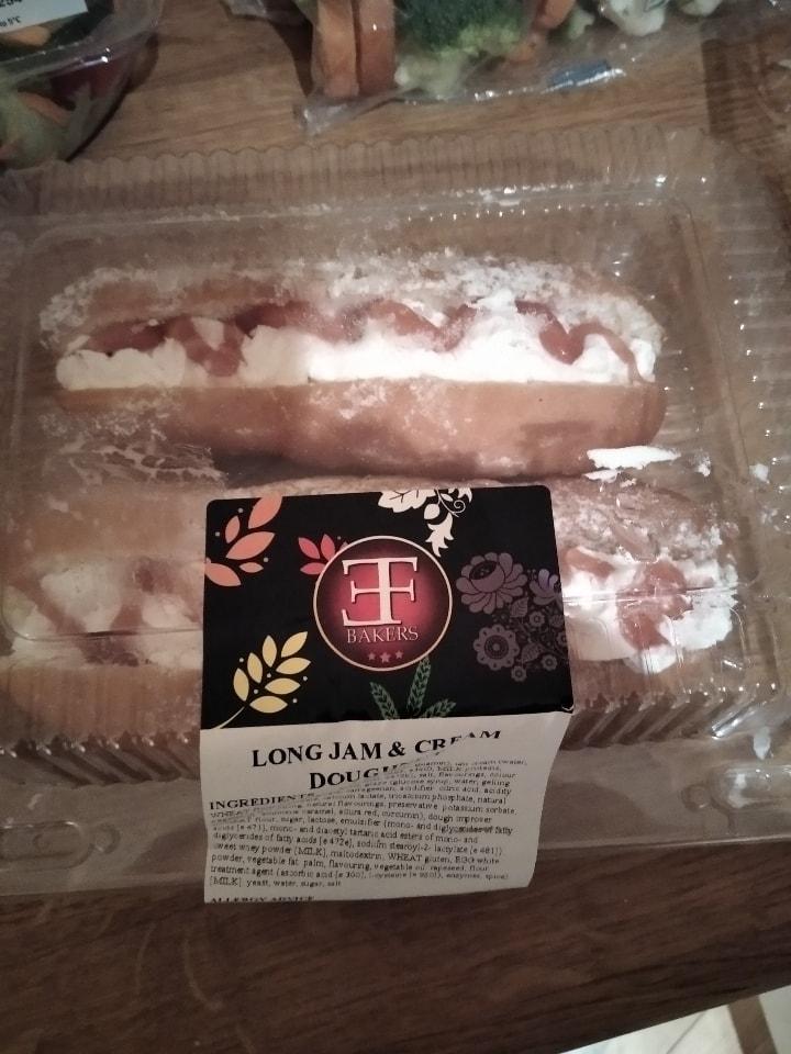 Long jam and cream doughnut