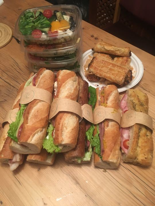 Fresh bakery food - salads and filled baguettes